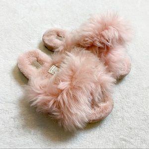 UGG fuzzalicous la sunset pink fluffy slides sz 5